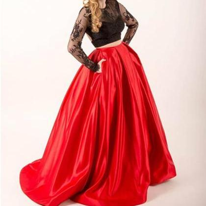 Two Piece Black Lace Red Satin Prom..