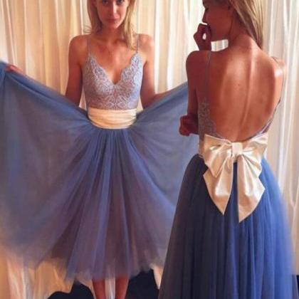 Prom Dress Gown Tea Length with Spa..