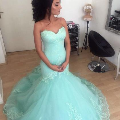 Aqua Sweetheart Mermaid Prom Dresse..
