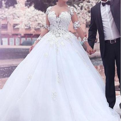 A line Princess Tulle Lace Wedding ..