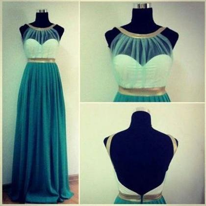Custom Cheap A line Long Chiffon Ba..
