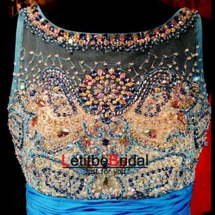 Custom Heavy Beaded Low Back Blue P..