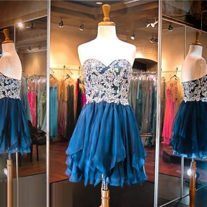 Navy Blue Prom Dress,Short Prom Dre..