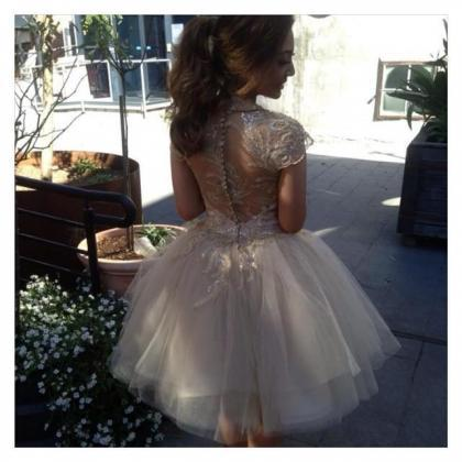 Short Champagne Lace Prom Dress Gow..