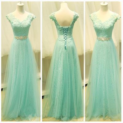 Custom Cheap Cap Sleeves Mint Green Lace Long Prom Dresses Gowns 2016, Formal Evening Dresses Gowns, Homecoming Graduation Cocktail Party Dresses, Holiday Dresses, Plus size