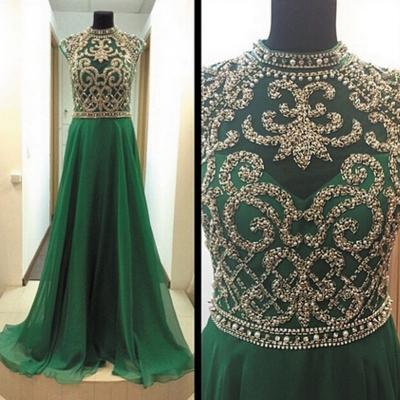 Custom Cheap Heavy Beaded Sparky Open Back Long Elegant Chiffon Green Prom Dresses Gowns 2016 , Formal Evening Dresses Gowns, Homecoming Graduation Cocktail Party Dresses, Holiday Dresses, Plus size