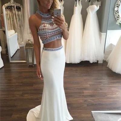 Custom Sparkle Halter Two 2 Pieces Prom Dresses, Long Prom Dress, Mermaid Prom Dress, Chiffon Prom Dress, Ivory Prom Dress, Affordable Prom Dress, Junior Prom Dress,Ivory Formal Evening Dresses Gowns, Party Dresses, Plus size
