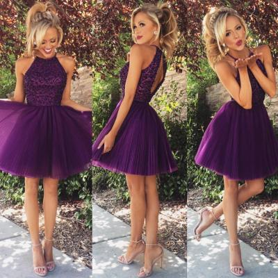 Custom Short Prom Dress, Purple Prom Dress, Beaded Prom Dresses,Tulle Prom Dress, Sexy Prom Gowns, Prom Dress Short, Formal Dress, Homecoming Dresses, Graduation Dress, Party Dress