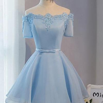 Elegant Off The Shoulder Lace Satin Short Prom Dresses, Baby Blue Prom Dress, Short Sleeves Homecoming Dress, Cocktail Party Dress, Short Homecoming Dresses