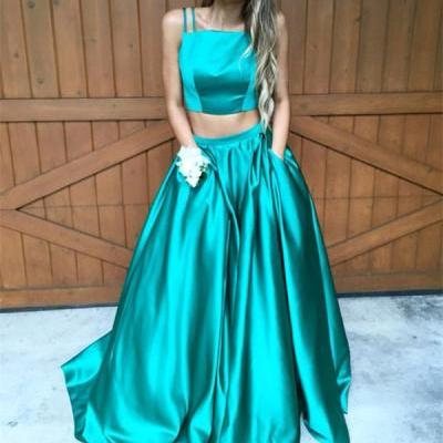 Two Piece Prom Dresses, Green Prom Gown,Prom Dresses Long, Evening Gown Long, Green Evening Dress,Formal Dress,Maxi Dress,Party Dress,Ball Gown,Cocktail Dress,Graduation Dress