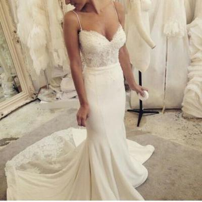 Spaghetti Strap Sweetheart Lace Mermaid Dress with Sweep Train