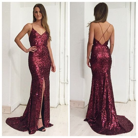 Sequins Prom Dress Long Mermaid Burgundy Gown Evening Formal