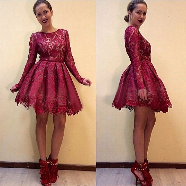 Lace Prom Dress Long Sleeves Cheapburgundy Prom Gownshort Prom