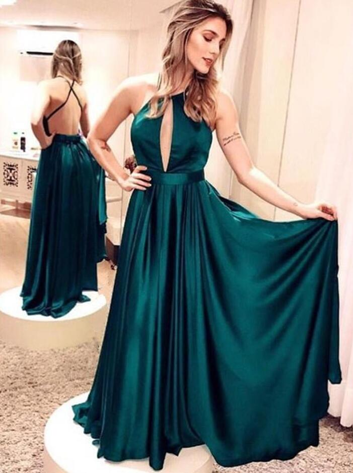 Dark Green Sexy Long Prom Dresses with Crossover Back Formal Evening Gown Cheap Party Dress Custom Plus size 2018
