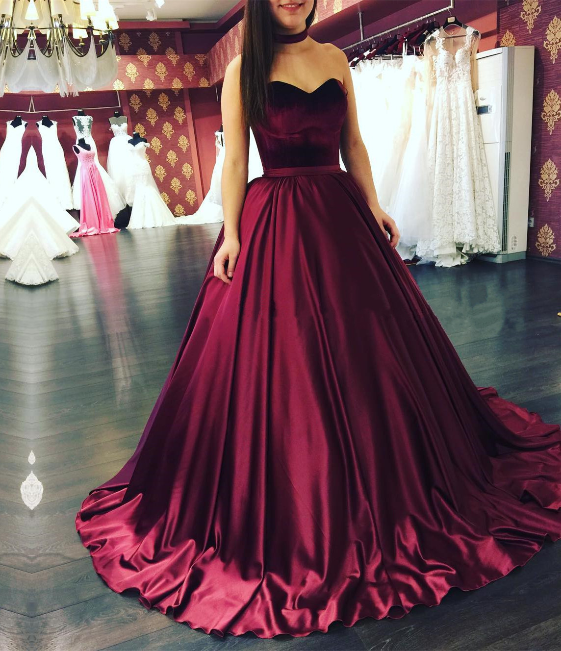 af3c0a36987 A line Sweetheart Princess Burgundy Velvet Satin Prom Dresses Wine Red Formal  Evening Gown Junior Senior Cheap Party Dress Custom Plus size 2018