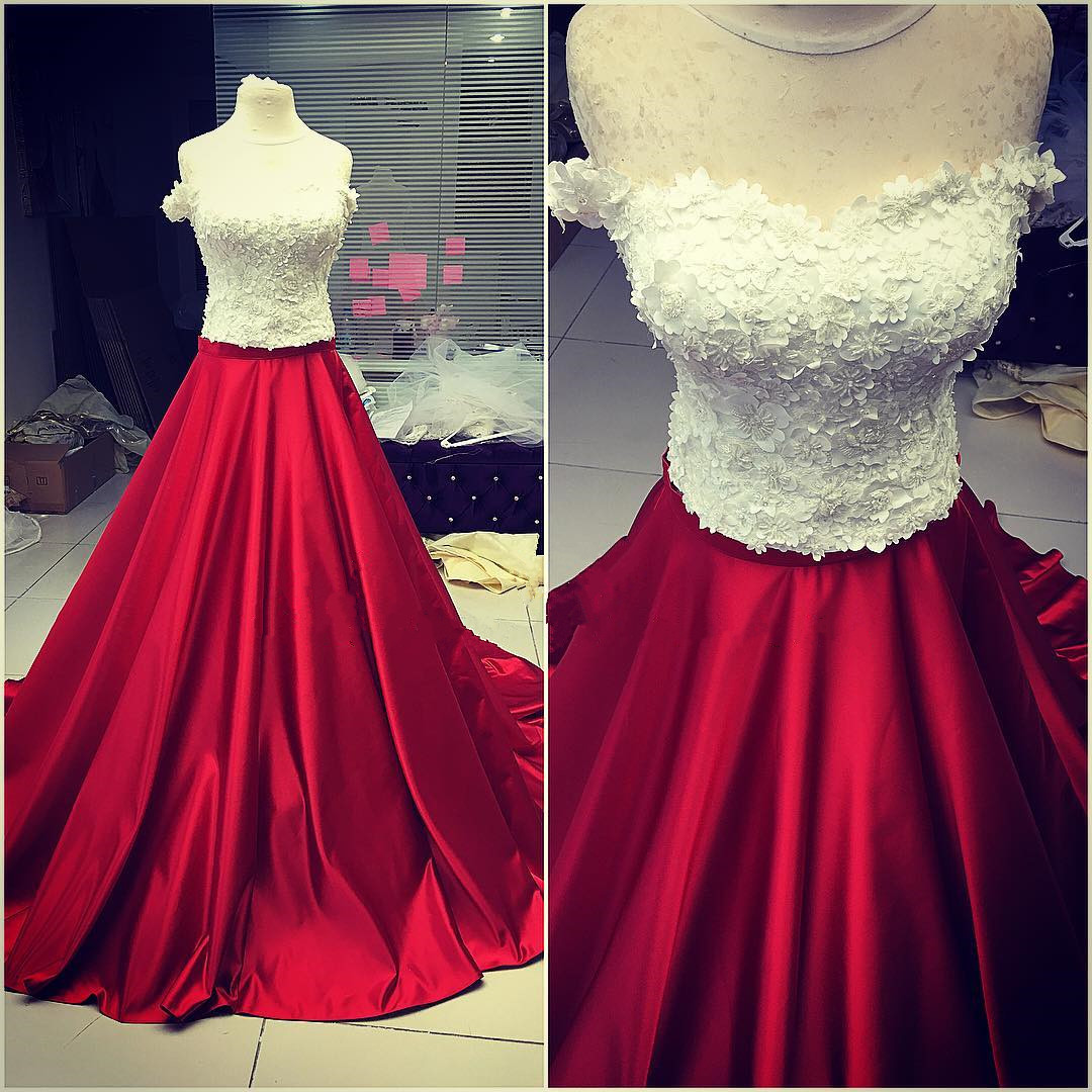 719443c0292 White and Dark Red Prom Dresses with Appliques Long A line Formal Evening  Gown Off the Shoulder Junior Senior Cheap Party Dress Custom Plus size 2018