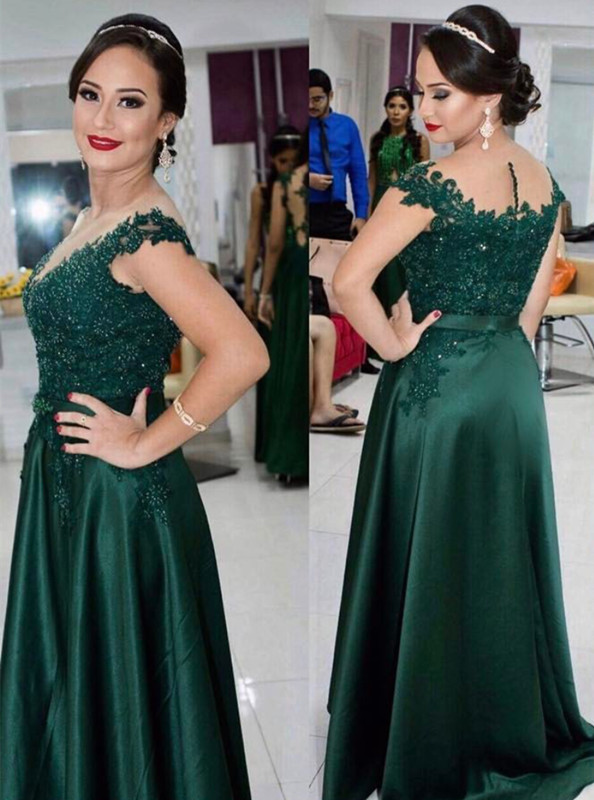450457826b4 Women s Dark Green Lace Satin Prom Dresses Long Elegant Formal Evening Gown  Cheap Party Dress Custom Plus size 2018
