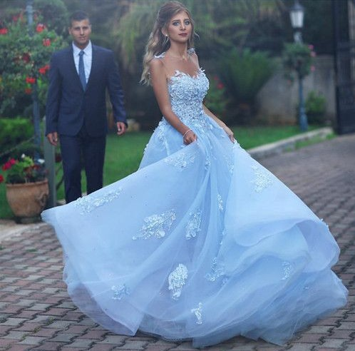 c2551cb45e39 A line Princess Tulle Lace Light Blue Prom Dresses with Illusion Back  Elegant Formal Evening Gown Cheap Junior Senior Party Dress Custom Plus  size 2018