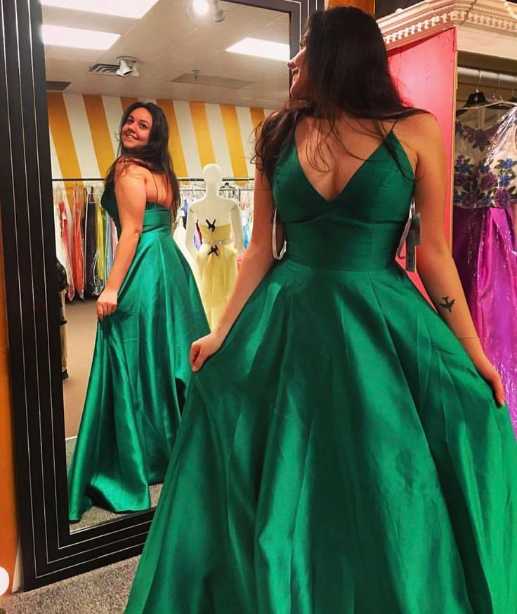 7d5f882becd Women s Simple Cheap V neck Satin Green Prom Dresses with Spaghetti Straps  Sexy Elegant Formal Evening Gown Cheap Junior Senior Party Dress Custom Plus  size ...