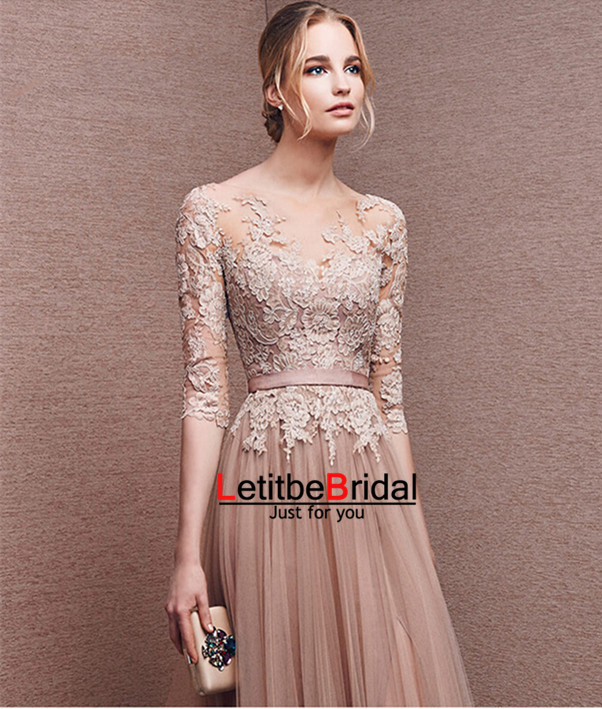 2016 Long Tulle Lace Champagne Prom Dresses With Half Sleeves Formal