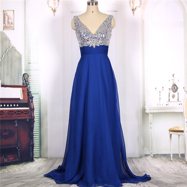4a429a00abeb4 2016 New Cheap V neck Sexy Open Back Sequins Royal Blue Chiffon Long Prom Dresses  Gowns