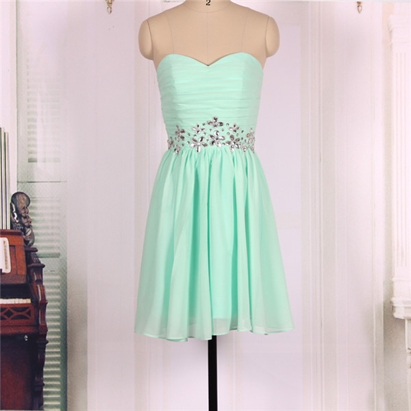 2016 New Cheap Sweetheart Mint Green Chiffon Short Prom Dresses Gowns, Formal Evening Dresses Gowns, Homecoming Graduation Party Dresses Bridesmaid Dresses,Custom Plus size