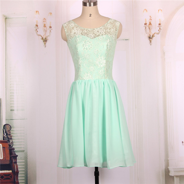 2016 New Chiffon Lace Mint Green Short Prom Dresses Gowns Formal Evening