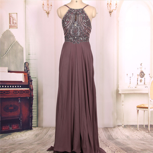 f69e8a1b56c Hot Sale Cheap A line Chocolate Beaded Long Sexy Backless Prom Dresses Gowns  2016