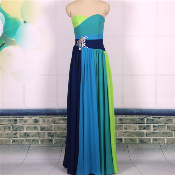 Custom Cheap A line Sweetheart Four Tones Long Chiffon Simple Prom Dresses Gowns 2016,Formal Evening Dresses Gowns, Homecoming Graduation Cocktail Party Dresses Plus size