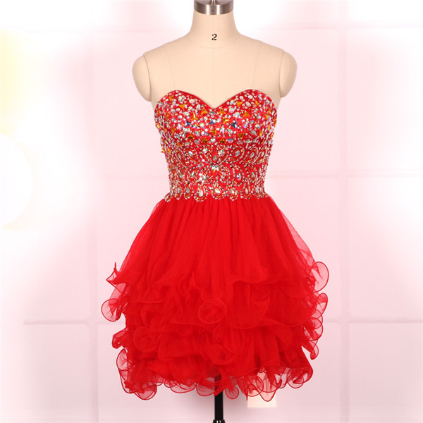 Custom Cheap Ball Gown Sweetheart Beaded Tulle Red Short Prom Dresses Gowns 2016, Formal Evening Dresses Gowns, Homecoming Graduation Cocktail Party Dresses,Holiday Plus size
