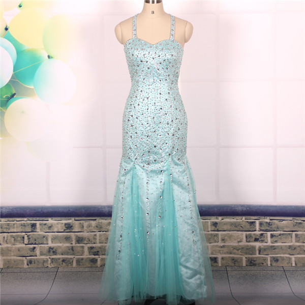 Custom Cheap Ball Gown Heavy Beaded Sexy Backless Blue Long Mermaid Prom Dresses Gowns 2016, Formal Evening Dresses Gowns, Homecoming Graduation Cocktail Party Dresses,Holiday Dress, Plus size