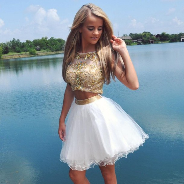 Custom Cheap A Line Ball Gown Beaded Short White 2 Two Pieces Prom ...
