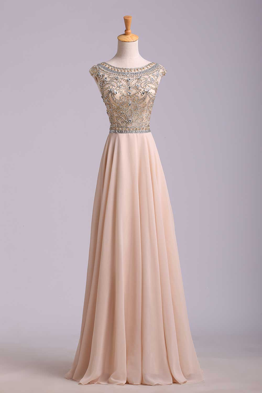 Custom Cheap A Line Beaded Bodice Low Back Chiffon Long Prom Dresses
