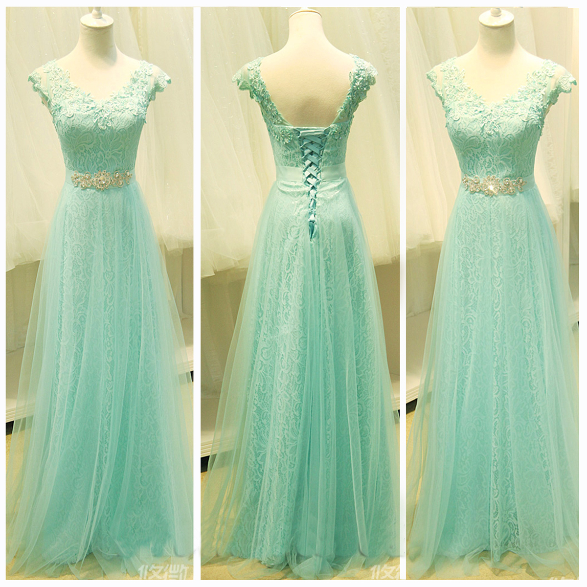 Custom Cheap Cap Sleeves Mint Green Lace Long Prom Dresses Gowns ...