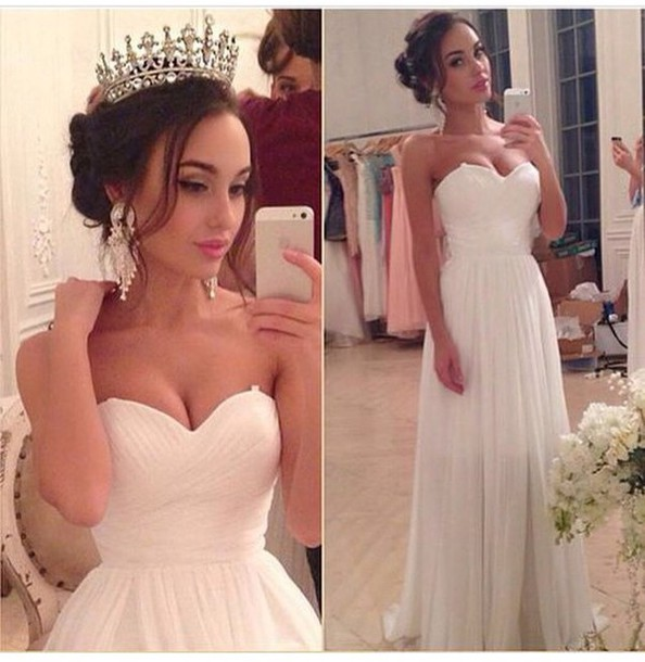 Custom Cheap Sweetheart Chiffon Long Ivory Prom Dresses Gowns 2016