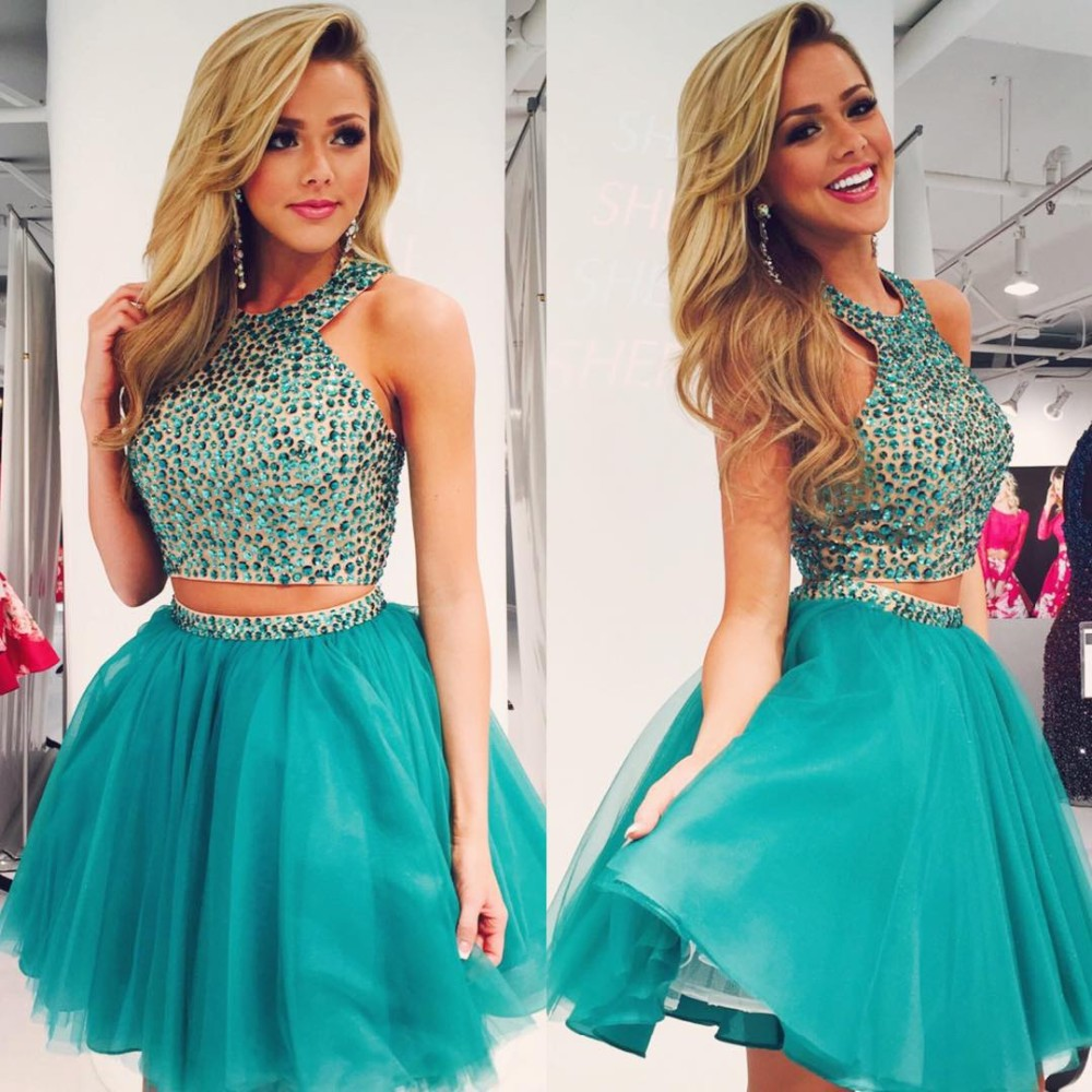 Custom Cheap Ball Gown Sparky 2 Two Pieces Short Turquoise Prom ...
