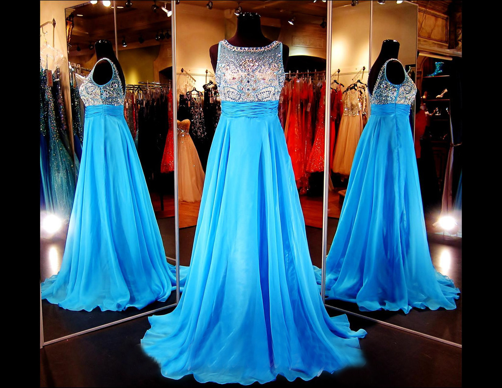 Custom Heavy Beaded Low Back Blue Prom Dress, Long Prom Dress, Chiffon Prom Dress, Prom Dress 2017, Affordable Prom Dress, Junior Prom Dress,Formal Evening Dresses Gowns, Homecoming Graduation Cocktail Party Dresses, Holiday Dresses, Plus size