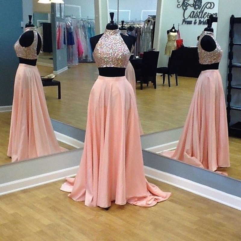 Custom Two 2 Pieces Prom Dresses, Long Prom Dress, Sexy Prom Dress, Cheap  Prom Dress, Coral Prom Dress, Affordable Prom Dress, Junior Prom  Dress,Green ...