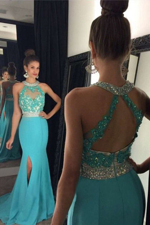 Turquoise Lace Prom Dress