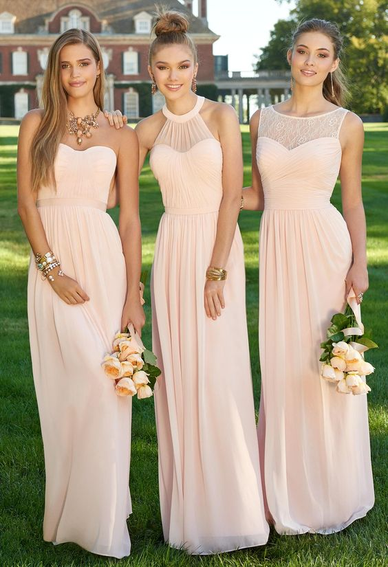 Custom Pink Bridesmaid Dresses, Bridesmaid Gowns, Long Bridesmaid Dress, Chiffon Bridesmaid Dress, Pink Bridesmaid Dresses, Cheap Bridesmaid Dress, Wedding Party Dress, Simple prom dress