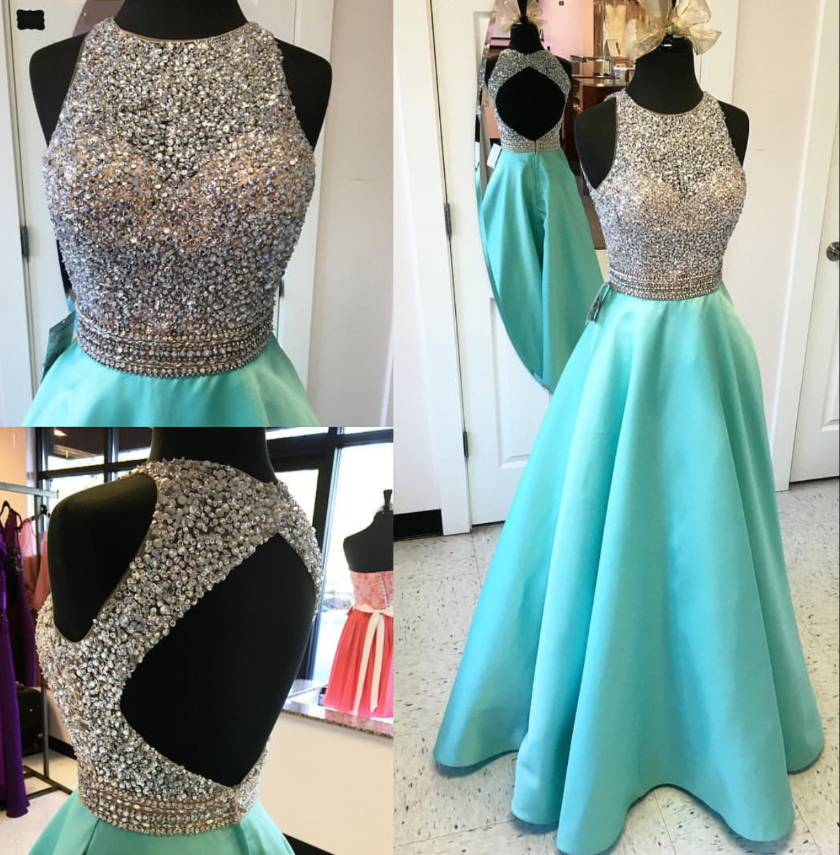 Custom Long Prom Dress, Mint Prom Dress, Sparkle Prom Dresses,Satin ...
