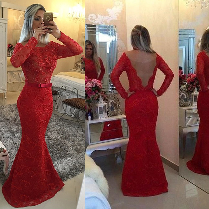 Illusion Prom Dress Illusion Evening Dressesred Evening Dress Red