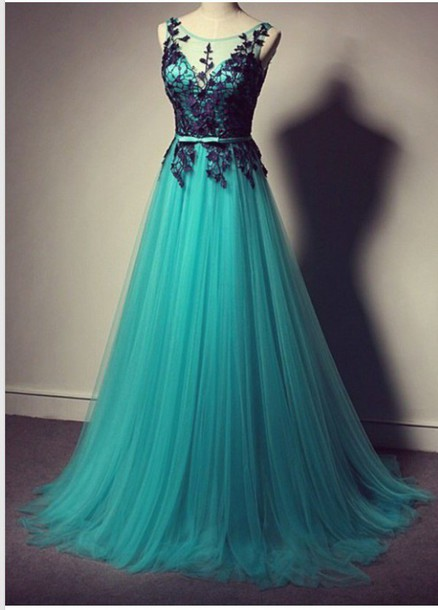Turquoise Prom Dress With Black Lace, Tulle Prom Dress,Long Prom ...