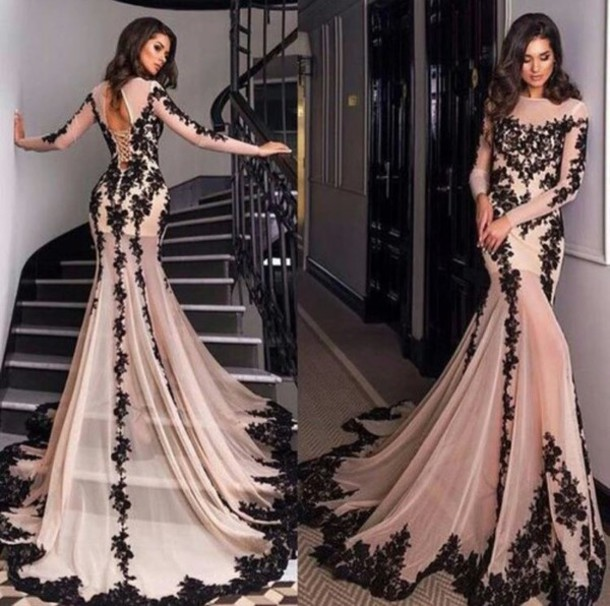 Lace Prom Dress Champagne Prom Dress Long Sleeves Prom Dress