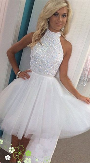 Short White Beading Prom Homecoming Dresses, Knee-Length Prom Dress ...