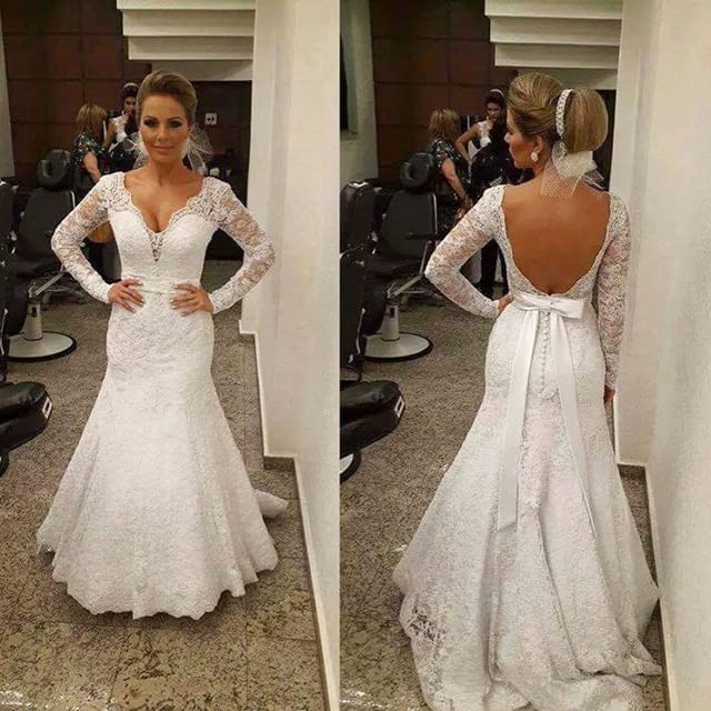 Backless Mermaid Lace Wedding Dress With Long Sleeves, Wedding Gowns ...
