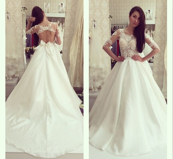 Long Sleeves Wedding Dress Lace Ivory Wedding Gowns Bridal Dresses