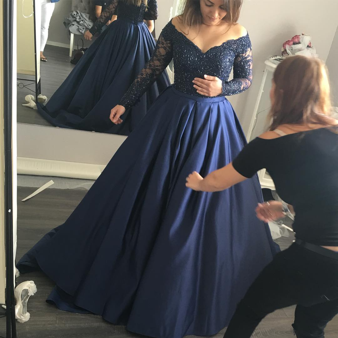 Prom Dress Navy Blueprom Dress Long Sleevesprom Dress Off The