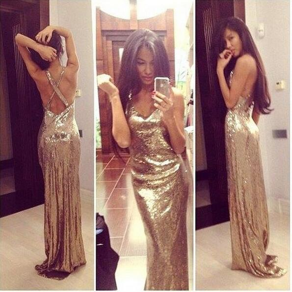 Prom Dress,Champagne Sequins Prom Dress, Prom Dress Long Crossover ...