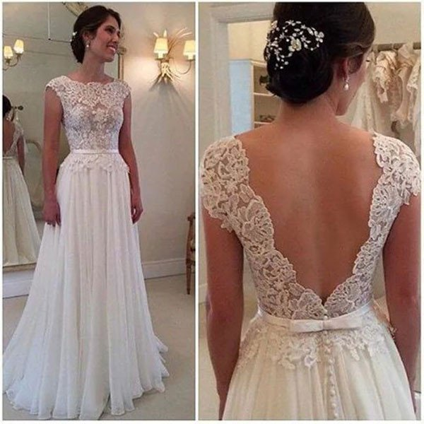 Lace Beach Wedding Dress Cap Sleeves 2017,Wedding Dress Open Back ...